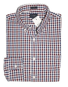 J-Crew-Factory-Men-039-s-L-Slim-Fit-Maroon-Navy-Gingham-Washed-Cotton-Shirt