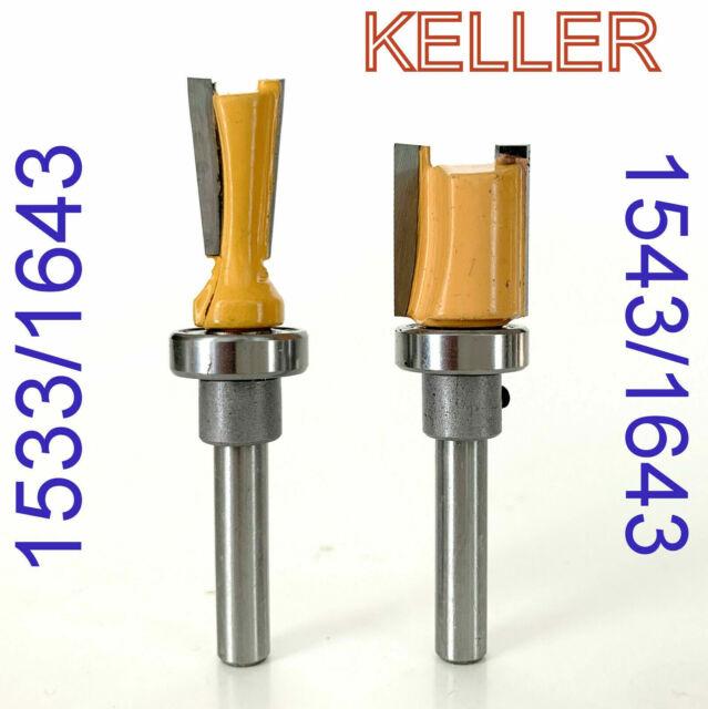"2 pc 1/4"" Sh. Top Bearing 7° Dovetail Router Bit Set For Keller Jig S"