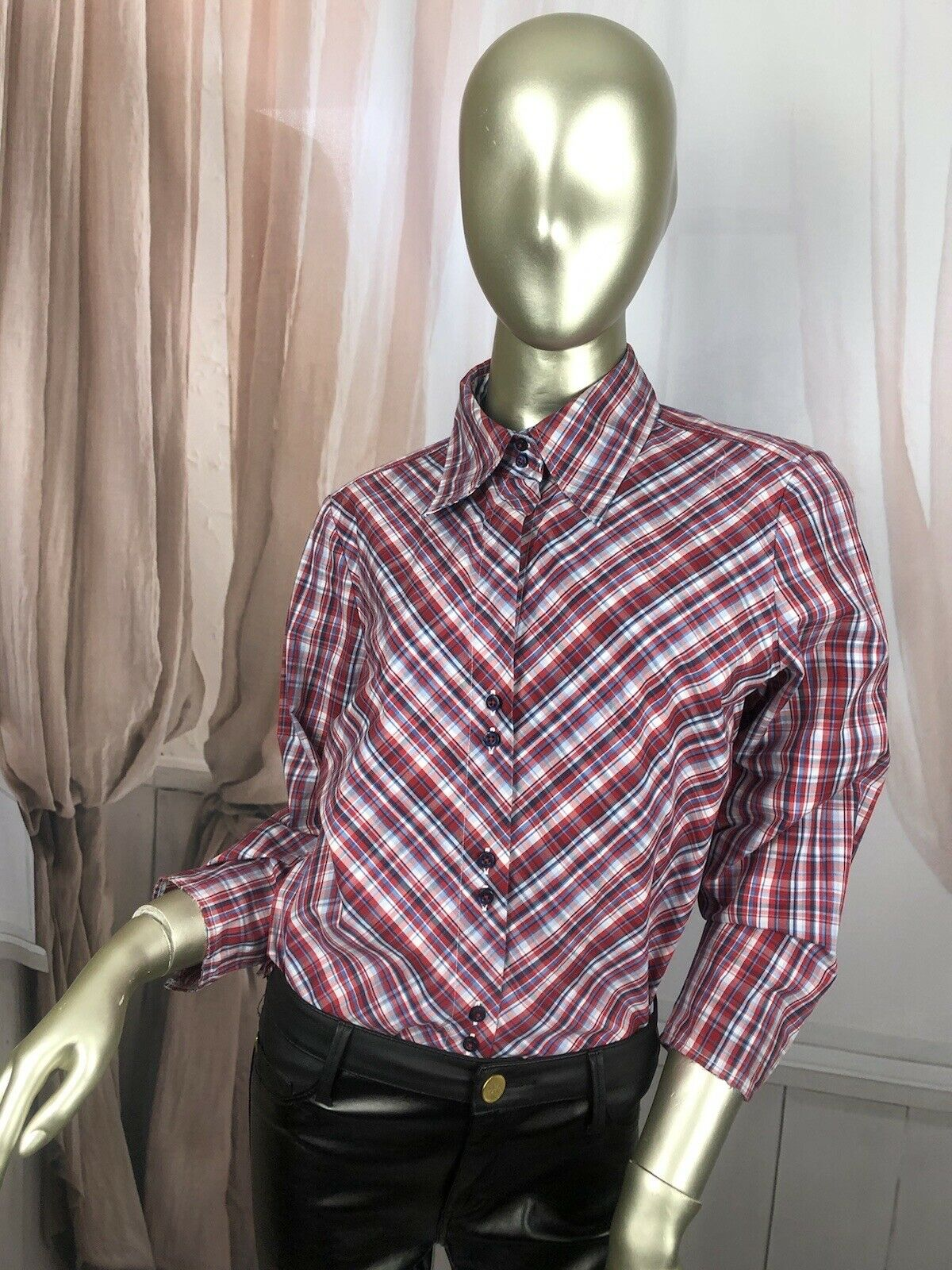 Vintage Tommy Hilfiger Check 3/4 Sleeve Shirt Tunic Blouse 10