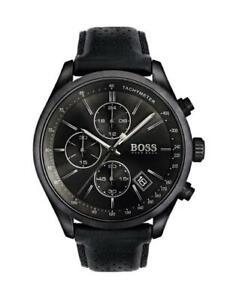 Men-039-s-Hugo-Boss-Black-Leather-Grand-Prix-Chronograph-Watch-HB1513474