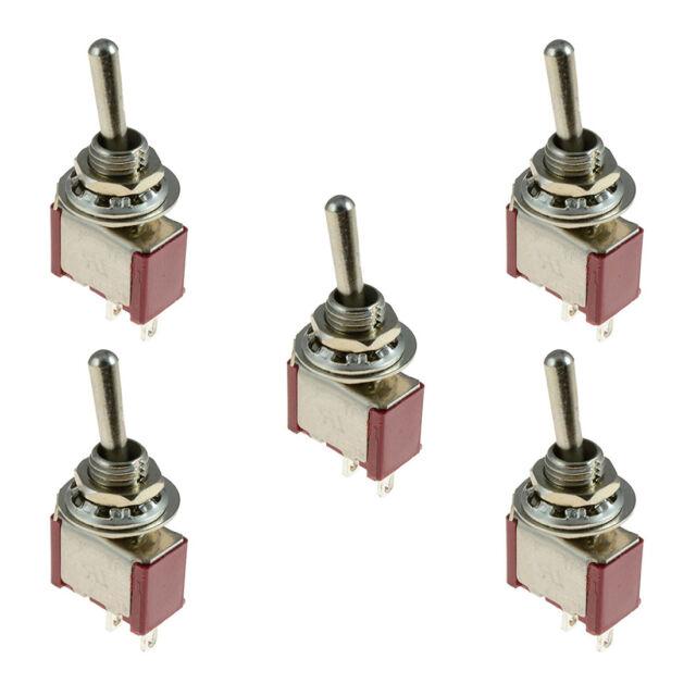 5 x On/Off Small Toggle Switch Miniature SPST 6mm - AC250V 3A 120V 5A W2U5