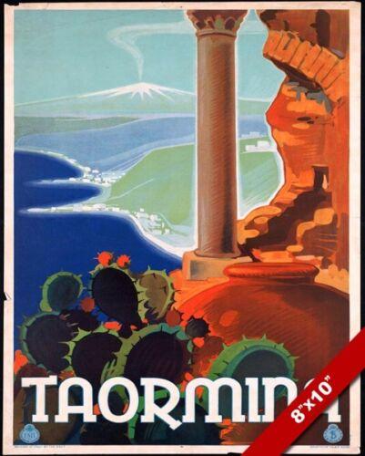 VINTAGE 1930'S TAORMINA SICILY ITALY ITALIAN TOURISM POSTER ART CANVAS PRINT