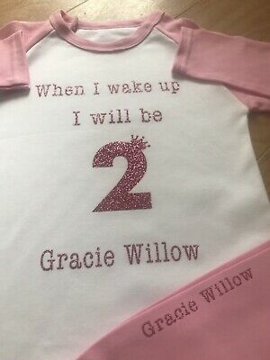 Personalised When I wake up I will be one 1 Girls pink pyjamas pjs 1-2 years 1st