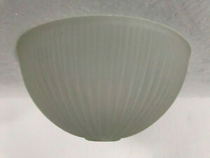 Holophane-Glass-Light-Shade-Dome-Frosted-Ribbed-Swirl-Semi-Flush-Vintage-Scallop