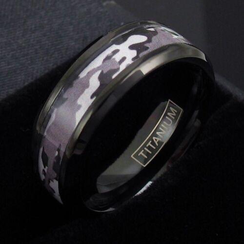 Black Titanium Men/'s Desert Tan Camo Wedding Band Ring Size 9-13