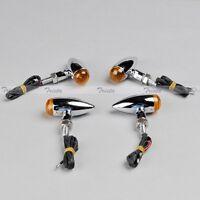 4x Mini Bullet Chrome Metal Motorcycle Quad Atv Turn Signal Light Orange Jp