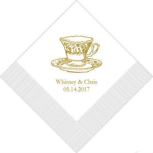 300 Vintage Tea Cup Personalized Wedding Luncheon Napkins