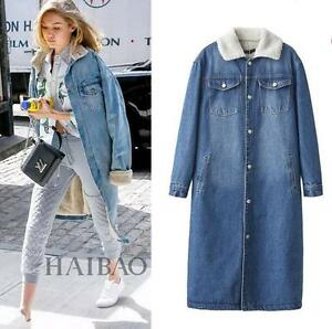 2017 Women's winter fur lining fleece long denim JACKET Coat ...
