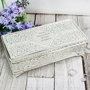 Details About Personalised Silver Plated Antique Jewellery Box Engraved Free Wedding Teachers