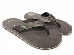 2362a58b38f4d Details about Sanuk Beer Cozy Men s Flip-Flops Thong Sandals Brown Shoes  SMS2839 Yoga mat New