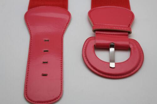 Women Stretch Belt Wide Coral Pink Plain Hip High Waist Round Buckle Plus Size