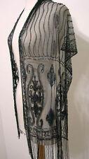 Vintage GLASS BEAD 100% Rayon Fringe Wrap Shawl Western Fashion MULTI NWOT