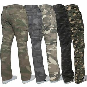 Kruze-Mens-Military-Combat-Trousers-Camouflage-Cargo-Camo-Army-Casual-Work-Pants
