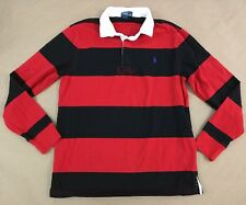 POLO RALPH LAUREN Boy's Large 14-16 Red & Black  Rugby Shirt (B4)