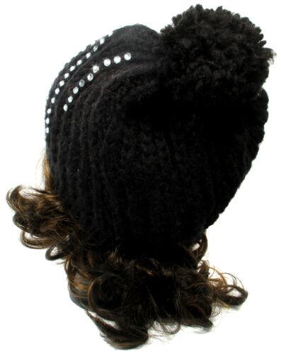 Fashion Womens Ladies Beanie Knit Crochet Bling Crystals Big POM POM Beanie hat