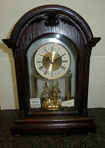 Image Is Loading Seiko Mantel Clock In Wooden Case With 3