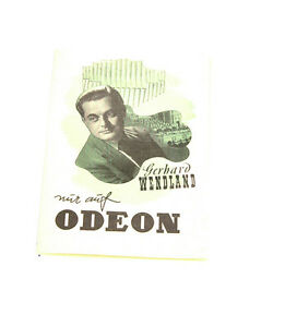 k134 Sonstige Stetig Gerhard Wendlang Platten Katalog Auf Odeon Katalog Top Zustand!!