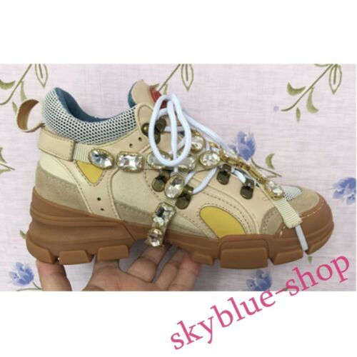 Genuine Leather Runway Rhinestone Sneaker Clubwear Women Vogue Colorful Shoes A