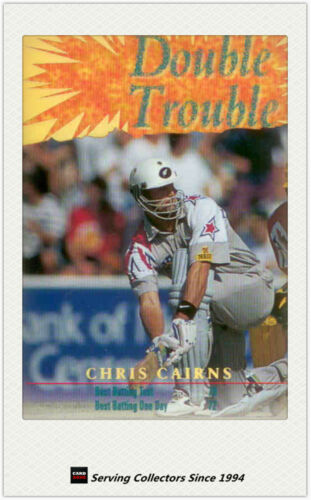 1996 NZ High Velocity Cricket Trading Card Double Trouble Chris Cairns