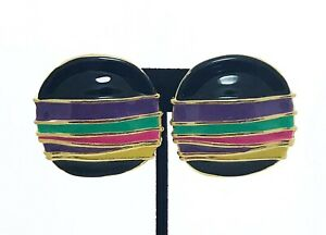 Vintage-Multi-Color-Enamel-And-Gold-Clip-On-Round-Rustic-Earrings
