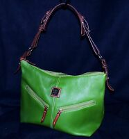 Dooney Bourke Mary Grass Green Pebbled AWL Leather Hobo Crossbody Shoulder Bag