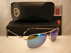 Ray Ban 3543 Matte Gold w Blue Mirror Polar Lens (RB3543 112 A1 ... dc17748a0d