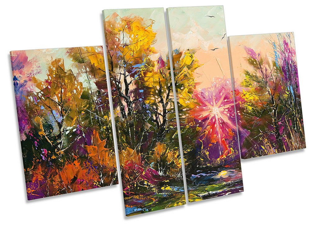 Autumn Forest Landscape Repro Framed CANVAS PRINT Four Panel Wall Art