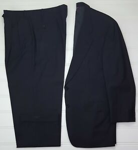 Samuelsohn-Suit-44L-Dark-Gray-Pinstriped-2-Button-Wool-Pleated-Cuffed-38x31-Pant