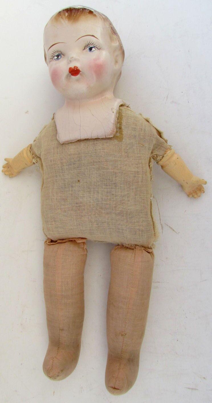 ANTIQUE COMPOSITION  bambola w  STUFFED STRAW corpo  Garanzia di vestibilità al 100%