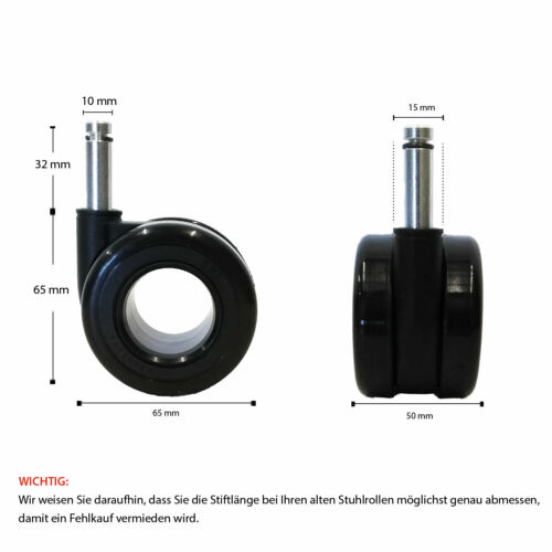 "Ring Teppichbodenrollen Design /""Black Edition/"" Ø 65mm Bürostuhl Rollen schwarz"