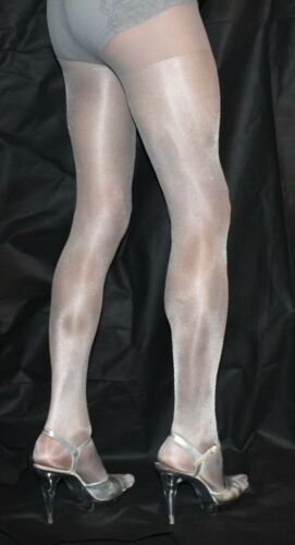2 Pairs Silver//Grey 40Denier High QualityOne Size Fabulous Shimmer Effect Tights
