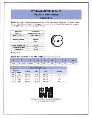 308LFC-O X .035 X 1# Spool stainless steel flux cored gasless welding wire