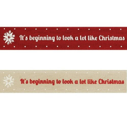 It/'s Beginning To Look A Lot Like Christmas Berisfords Ribbon 4m x 15mm