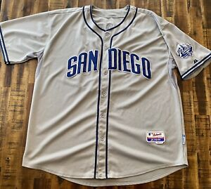 Authentic-Majestic-San-Diego-Padres-MLB-Baseball-Jersey-Sewn-Sz-56-Gray