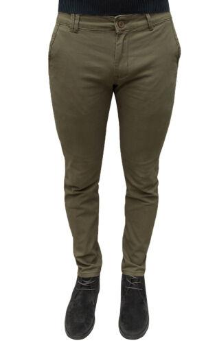 Pantalone uomo sartoriale casual marrone oliva invernale in cotone da 44 a 54