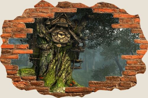 3D Hole in Wall Fantasy Forest Clock View Wall Sticker Decal Wallpaper Mural 714
