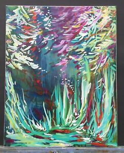 """Original Abstract Landscape painting canvas art floral forest 20""""x16""""x 0.8"""""""