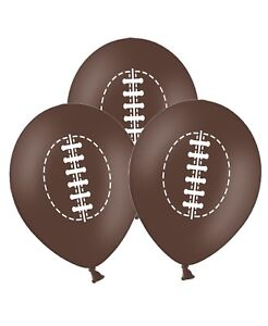 Rugby-Ball-12-034-Printed-Brown-Latex-Balloons-pack-of-15-for-Special-Sport-Fans