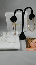 First Lady Melania Trump Gold Tone/ Channel Set CZs  Hoop  EarRings      L71