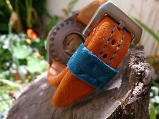 STRAP LE MANS GULF HOMAGE HANDMADE LE MANS STRAP22MM ORANGE FOR PARNIS