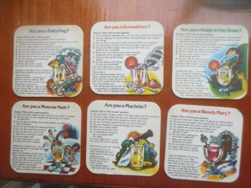 Coasters, complete set of 6 SMIRNOFF Recipes English Issue