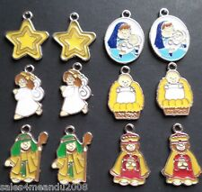 12 Enamel Nativity Religious Holiday Charms Earrings or Bracelet Making F3