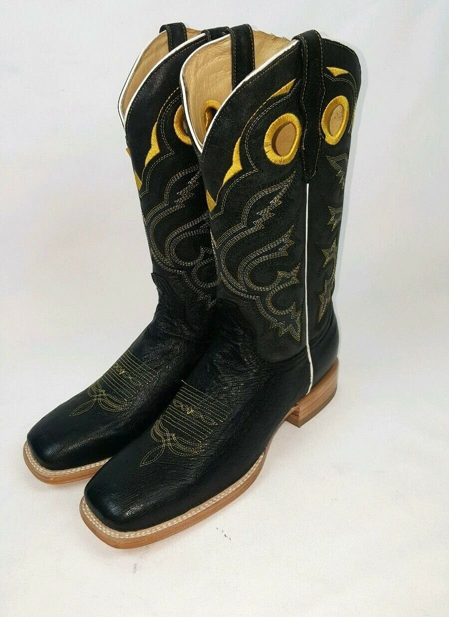 MEN'S COWBOY WESTERN EXOTIC BOOTS OSTRICH SKIN SQUARE TOE RODEO BROWN 9