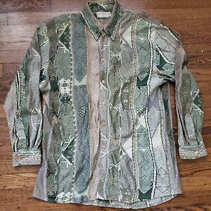 COOGI-Nouveau-Button-Front-Shirt-Herren-M-Bill-Cosby-Biggie-Hip-Hop-Hipster-Vintage