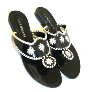 Jack-Rogers-women-s-10-M-black-white-navajo-flip-flops-jelly-sandals-thongs-h7