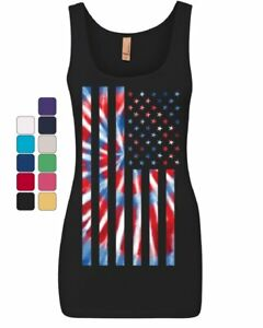 94525717f3689a Tie-dye American Flag Women s Tank Top 4th of July Stars and Stripes ...