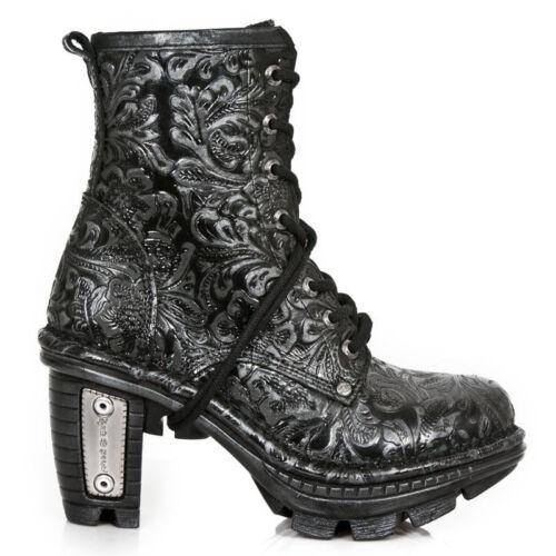 pelle rifiniti stivali da Punk New nero donna s24 Tr008 a Rock con gotico di mano Neo wT7qA4