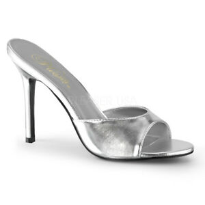 5fd98f547cb9 Details zu Classique-01 elegante Pleaser Lady High Heels Pantoletten silber  Metallic 35-47