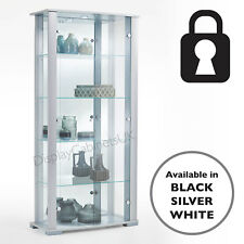 b662ffc51 Home Stella 2 Door silver double Glass Display Cabinet Lockable 86 cm wide