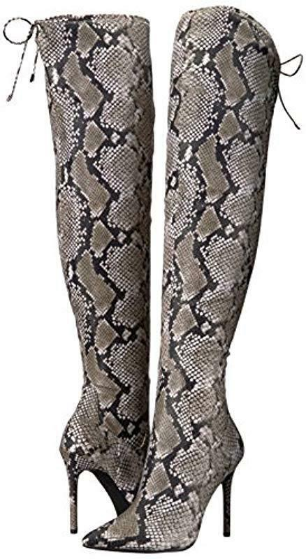 Jessica Simpson Londy Natural Snake Print Pointed Toe Stiletto Thigh High démarrage